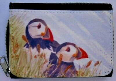 PUFFIN bird new denim textile purse wallet Sandra Coen