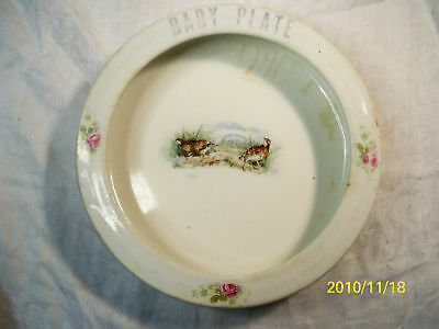 Antique Wellsville Pottery WC Co. Vintage Baby Plate