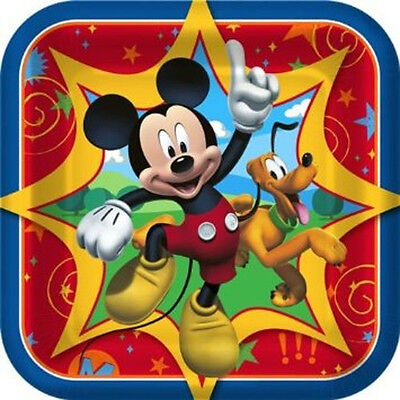 """Disney Mickey Mouse Clubhouse Dessert Plates 7"""" Square Birthday Party 1DPA3705"""