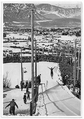WWII GERMAN- Extra Large 1936 OLYMPIC Photo Image- Ski High Jump- Down Slope