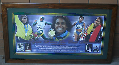 CATHY FREEMAN Signed & Framed Olympic Dreams Do Come True