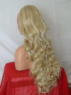 Half Wig Fall Clip In Hair Piece Curly Long 3/4 wig fall Ash Mix synthetic X22