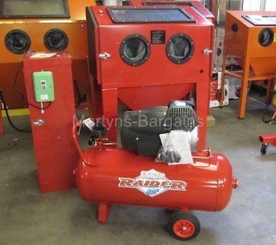 Double Door Sand Blasting Cabinet-SBC220a+Dust Extractor, Airline and Compressor