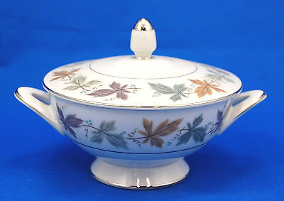 Sango ARGENT Sugar Bowl and Lid 2.375 in. Purple Green Orange Tan Leaves Gold