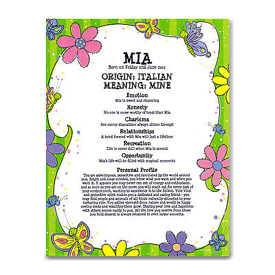 NAME MEANING CERTIFICATE Personalised Gift Baby Boy Girl Christening Naming Day