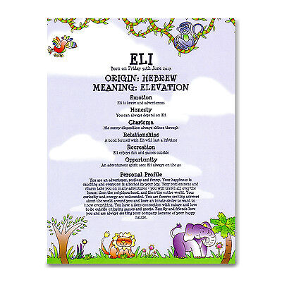 NAME MEANING CERTIFICATE Personalised Gift Christening Naming Baby Boy Birthday
