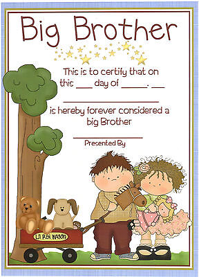 Big Brother Certificate - Personalised Gift for Older Sibling - Boy or Girl Baby