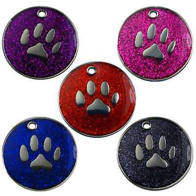 Engraved Pet Tags DOG ID Glitter 25mm Disc Engraved Free By Computer Free Post