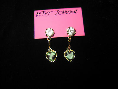 BETSEY JOHNSON RARE BLUEISH GREEN HEART LEOPARD BLING EARRINGS