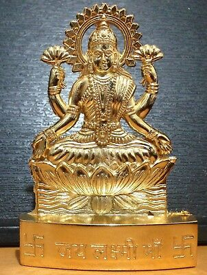 Goddess Of Wealth Lakshmi Laxmi Golden Metal Mini Statue Hindu Idol Diwali Pooja
