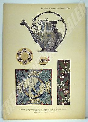PLANCHE COULEURS 1898 Alliot Lelong Bridélance ART DECORATIF MODERNE CHAMPIER