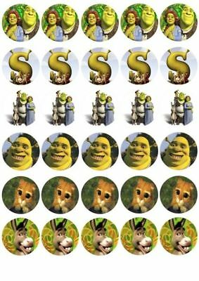 30 X Shrek And Friends Mixed Images Edible Cupcake Toppers 144