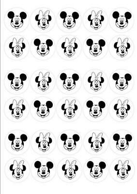 30 x MICKEY & MINNIE MOUSE BLACK & WHITE HEADS EDIBLE CUPCAKE TOPPERS RICE PAPER
