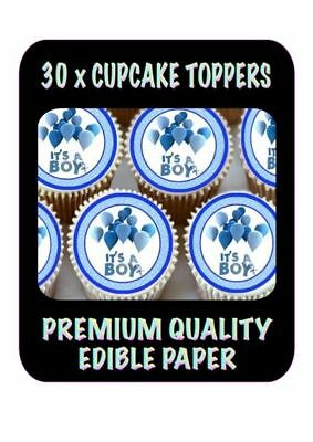 30 X Its A Boy Blue Balloons Edible Cupcake Toppers Premium Rice Paper 674