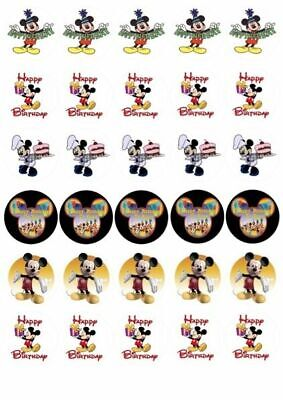 30 X Mickey Mouse Happy Birthday Mixed Images Edible Cupcake Toppers 137