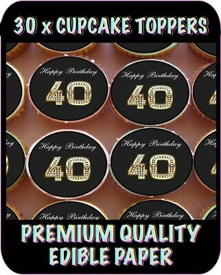 30 X 40Th Happy Birthday Bling Edible Cupcake Toppers Premium Rice Paper  603