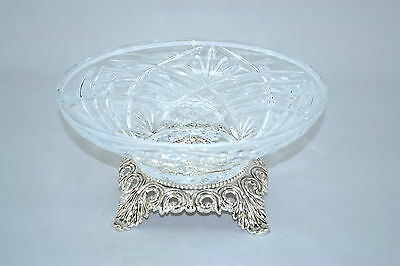 Crystal Clear with Silver base 4.5X9.5 inches ROUND SERVING BOWL