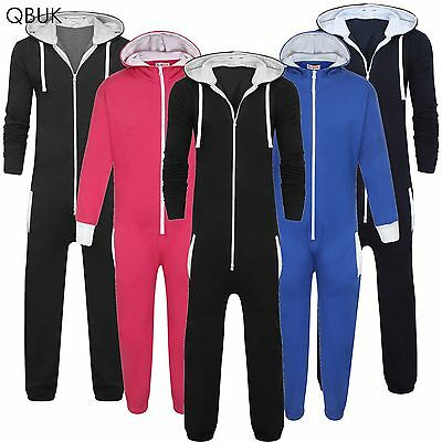 Kids Onezie Unisex Boys Girls Hooded Zip All In One Plain Jumpsuit Comfy