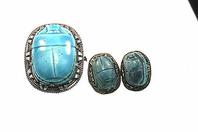 ANTIQUE S/S EGYPTIAN TURQUOISE Colored SCARAB BEETLE PEND/BROOCH CLIP EARRINGS