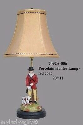 New Beautiful Porcelain Red Hunter Hunt Lamp with Dog  20 Inches
