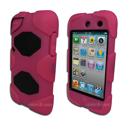 NEW Dark Pink Tough Protective Heavy Duty Case for iPod Touch 4 4th Gen 4G Cover