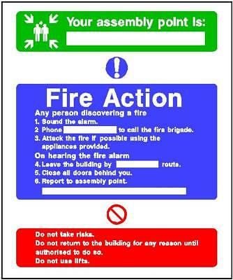 Fire Action (8) 200x150mm sticker rigid warning safety sign decal