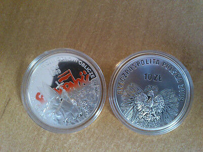2009 Poland SILVER AG coin SOLIDARNOSC free elections 1989 Pope JAN PAWEL II
