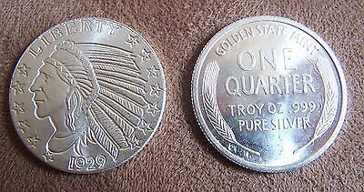 1/4 OZ Pure Silver Bullion 999 Coin One Quarter Round Golden State Mint