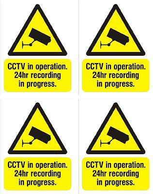 CCTV warning sticker X 4 security sign 5cmx4cm safety video recording