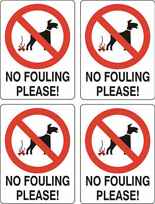 No Dog Fouling sticker X 4 10cmx8cm sign warning self adhesive decal