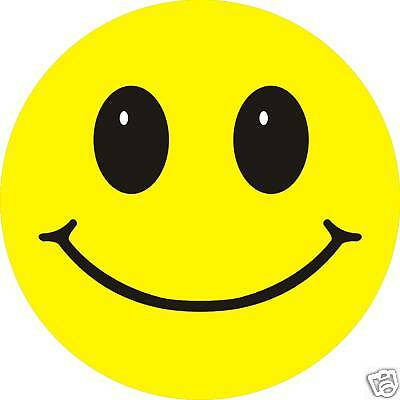 Smiley Face sticker X 3 6cm Retro Acid House self adhesive decal