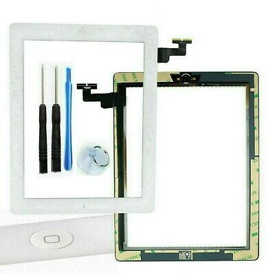 For iPad 2 White Touch Screen Digitizer Glass Lens with Home Button and Adhesive