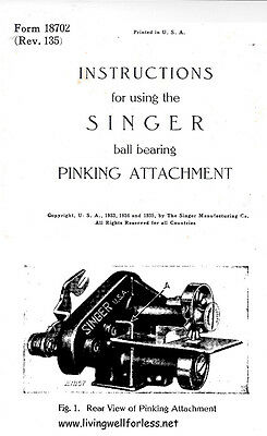 Singer Pinking Attachment Instructions Manual  on CD in pdf format