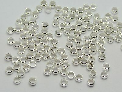 1000 Silver Plated Brass Round 2.5mm Crimp End Beads