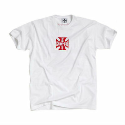 West Coast Choppers Original Iron Cross T-Shirt In White With Red Maltese Cross