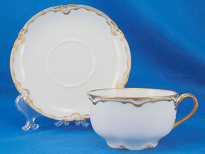 Haviland and Co. SCHLEIGER 428 Flat Cup and Saucer Set 1.875 in. Inner Gold Ring