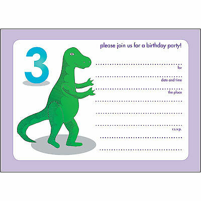 10 Childrens Birthday Party Invitations 3 year old - Fill-in - BPIF-76 Dinosaur!