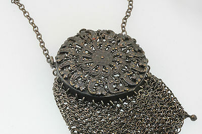 Antique 1890's Victorian Mesh Coin Purse Bag Filigree Metal Push Button Cover