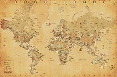 World Map Vintage Style Art Poster Print 36X24 (91.5X61cm)