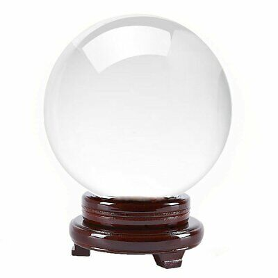 "6 in"" 150mm Clear Quartz Crystal Ball With Wood Stand -TOP USA SELLER"