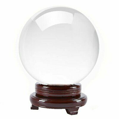 """Clear Quartz Crystal Ball """"150mm 6"""" With Wooden Stand & Gift Box -Top USA Seller"""