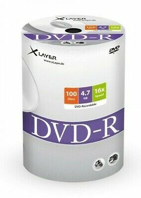 100 XLayer 105078 NON Printable 4.7GB Blank DVD-R 16x discs Shrinkwrap