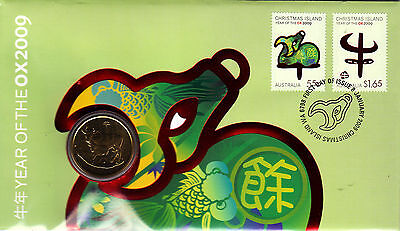 2009 Christmas Island Year Of The Ox FDC/PNC With Limited Edition $1 Coin