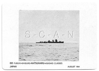 WWII Double Sided Recognition Photo Card- Japan- Destroyer- DD Hatsuharu- 1944