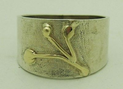 Striking Estate Sterling Silver Ring With Gold Plant Motif, Size 8.5