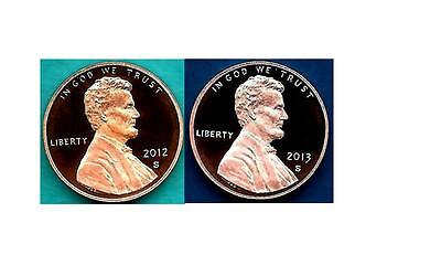 2012 AND 2013 Proof Lincoln Cent Penny - TWO COINS-Gem Proof - IN STOCK