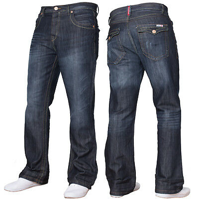 New Mens Basic Bootcut Wide Leg Flared Work Casual Denim Jeans Big King Sizes