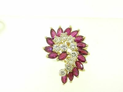 Bold Estate Natural Ruby & Diamond Cluster Cocktail Ring Solid 14K Gold Jewelry