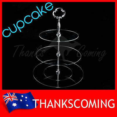 3 TIER CUP CAKE Stand Round Acrylic High Tea Elegant Silver Handle Wedding Party