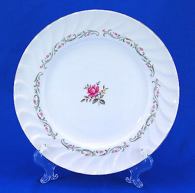 Fine China of Japan ROYAL SWIRL 109 Dinner Plate 10.25 in Pink Rose Gray Scrolls